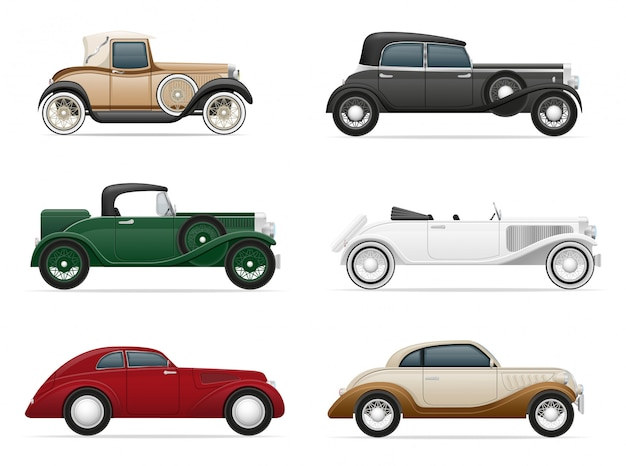 Set of old retro car vector illustration Premium Vector
