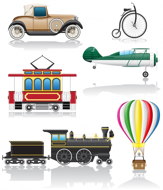 Set of old retro transport vector illustration Premium Vector