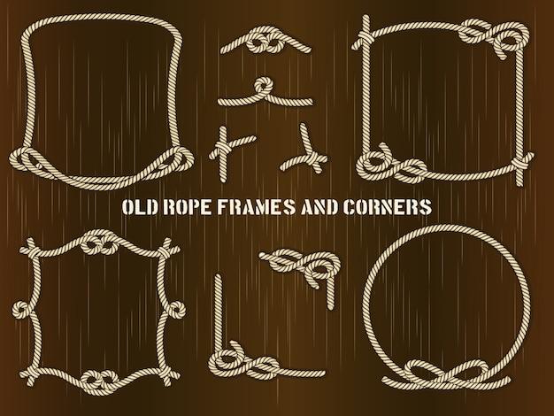 Set di vecchi telai di corda e angoli in diversi stili unici. Vettore gratuito