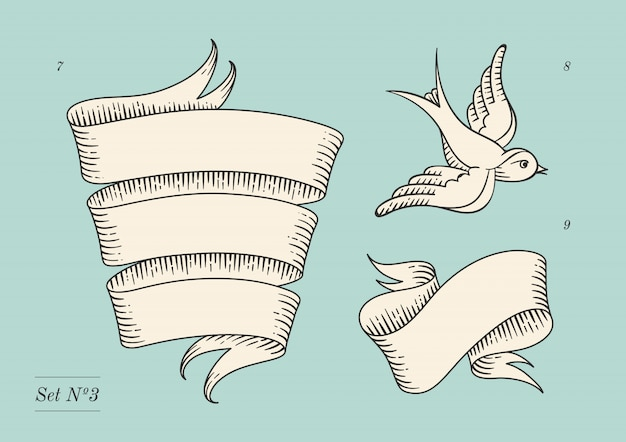 Set of old vintage ribbon banners and drawing in engraving style. Premium Vector