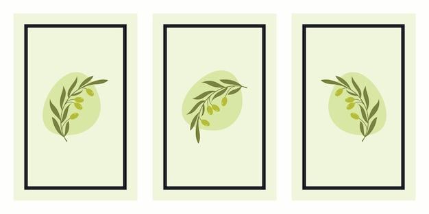 Set of olive branch art posters Premium Vector