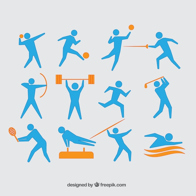 Set of olympic athletes Free Vector