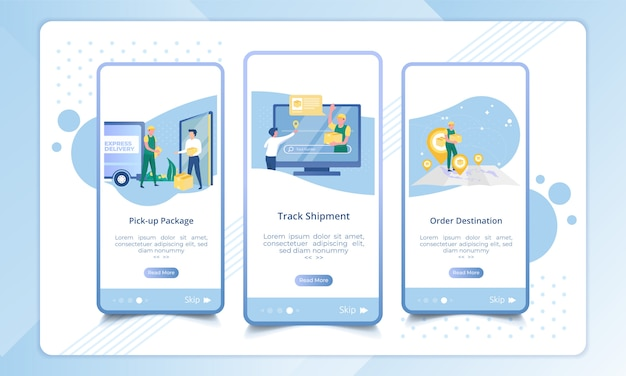Set of onboarding screen for delivery service process Premium Vector