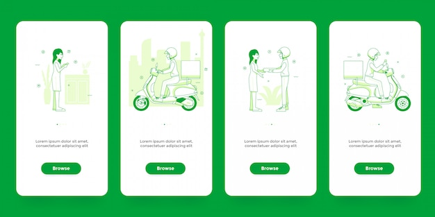 Set of onboarding screens online shopping and delivery app template Premium Vector