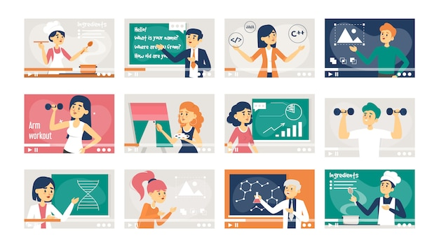 Set of online courses  isolated. education Premium Vector