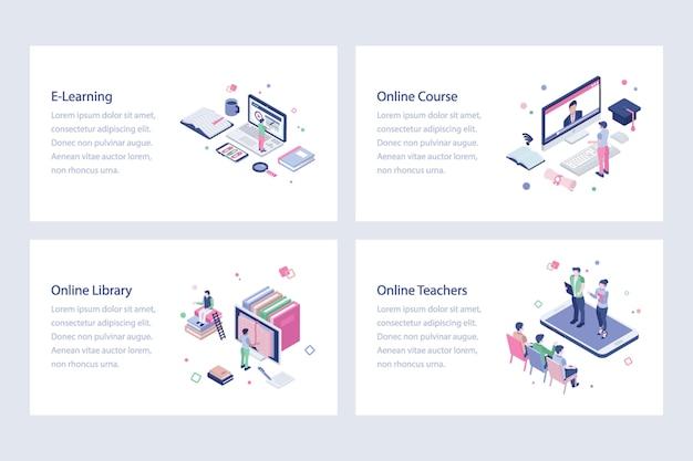 Set of online education illustrations Premium Vector