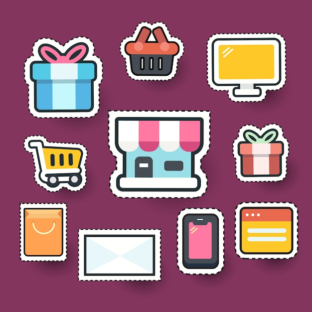 Set of online shopping element icon Premium Vector