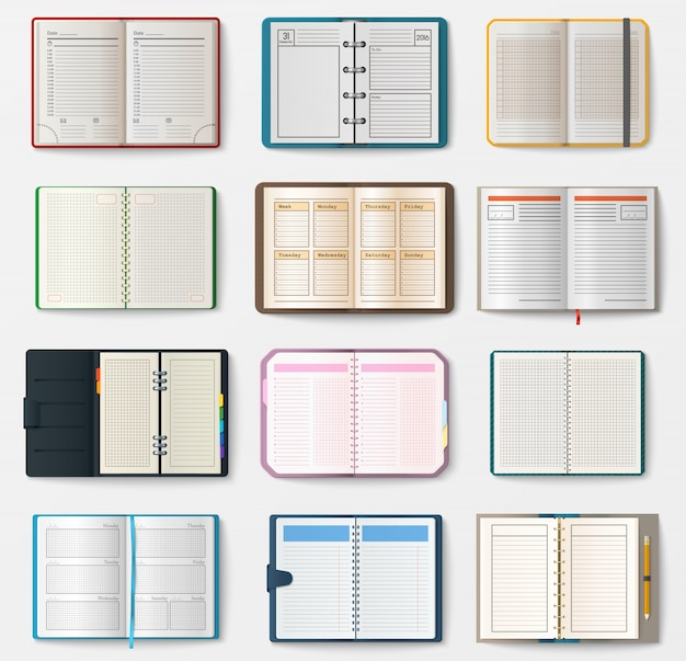 Set of open notebooks with pages Premium Vector