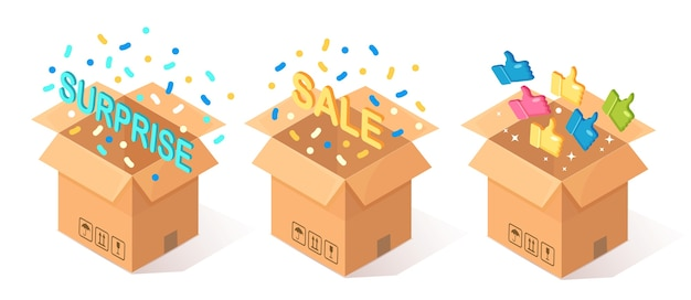 Set of opened cardboard, carton box with thumbs up  on blue background.  isometric package, gift, surprise with confetti. testimonials, feedback, customer review, sale concept. Premium Vector