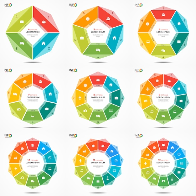 Set options circle chart infographic templates Premium Vector