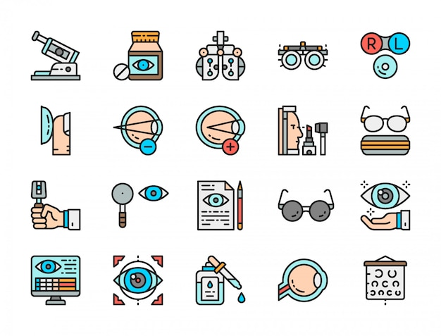 Set of optometry flat color icons. Premium Vector