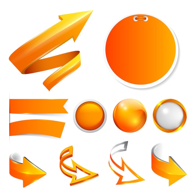 Set orange arrows, labels and stickers, buttons. Premium Vector