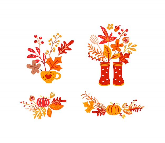 Set of orange autumn leaves bouquets with rubber boots Premium Vector