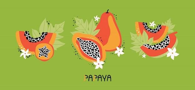 Установите оранжевую папайю с листьями и цветами. коллекция рисованной целые и нарезанные фрукты тропических фруктов с мясом, семена. диетическая веганская еда, органическая. каракули джунгли фрукты. плоская иллюстрация Premium векторы