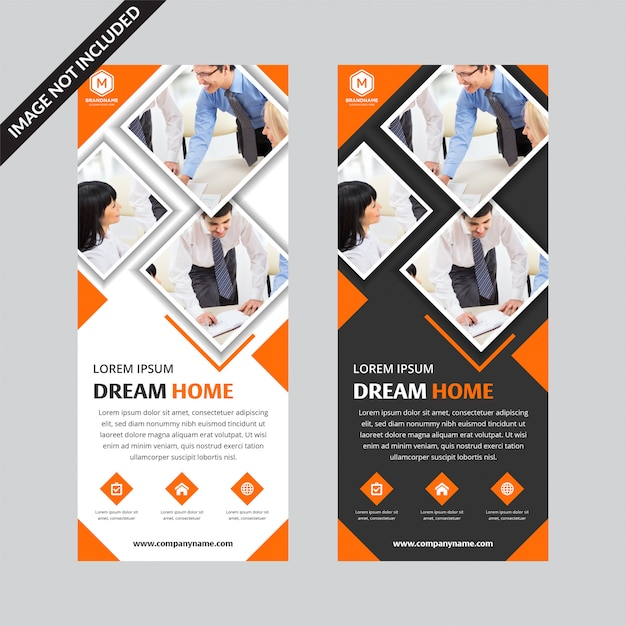 Set of orange square business roll up banner flat template Premium Vector