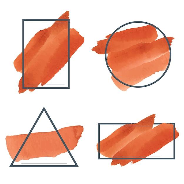 Set of orange watercolor banner design vector Free Vector