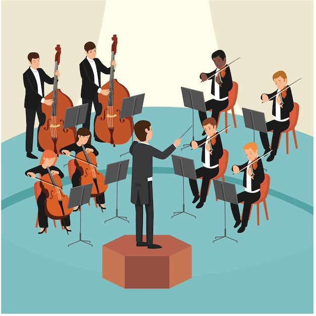 Set of orchestra group with the conductor on stage Premium Vector