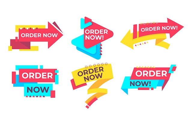 Set of order now banner Vettore gratuito