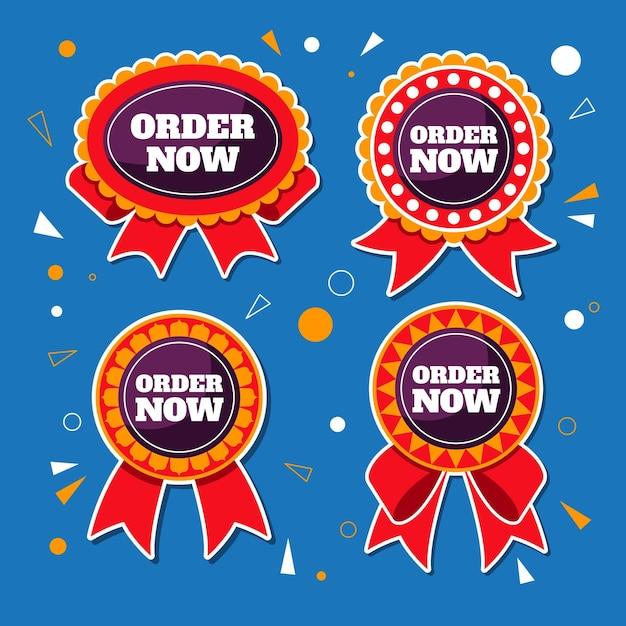Set di adesivi ordine ora Vettore gratuito
