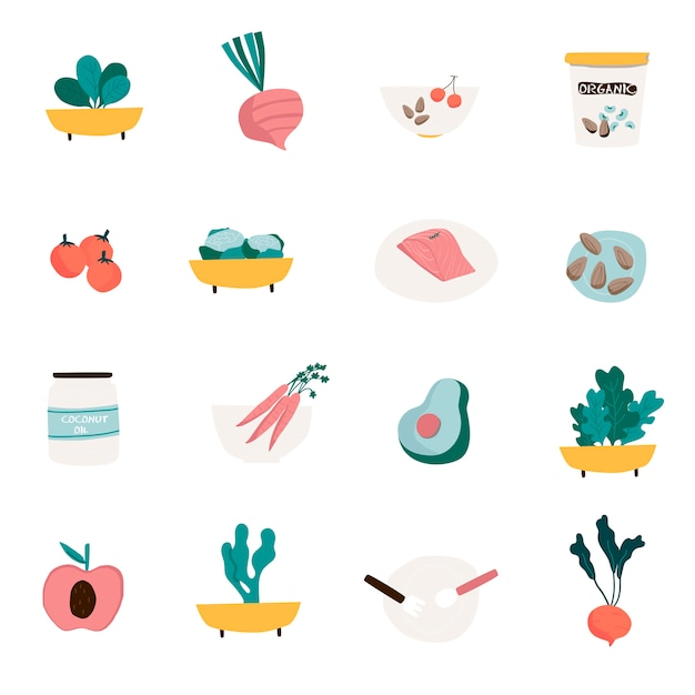 Set of organic food icon vectors Free Vector