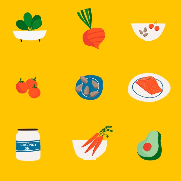 Set of organic food icon vectors Free Vector