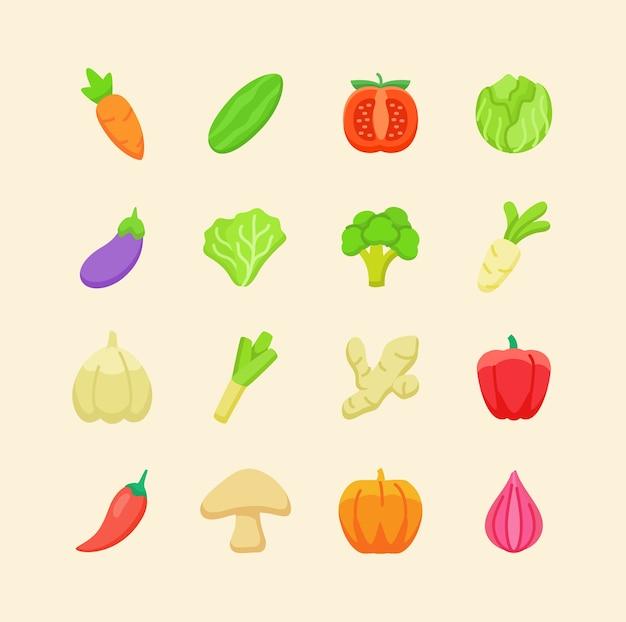 Set of organic fresh vegetable icons Premium Vector