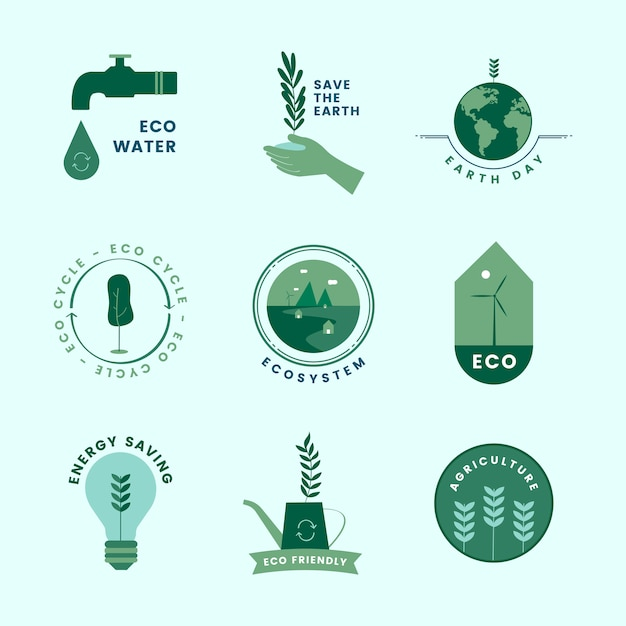 Set of organic and go green icons Free Vector