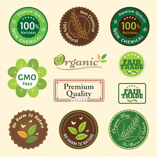 Set of organic non chemical quality and fair trade guarantee label emblem badges for plant fruits and vegetable Premium Vector