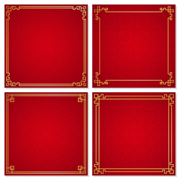 Set of oriental chinese border ornament  vector illustration Premium Vector