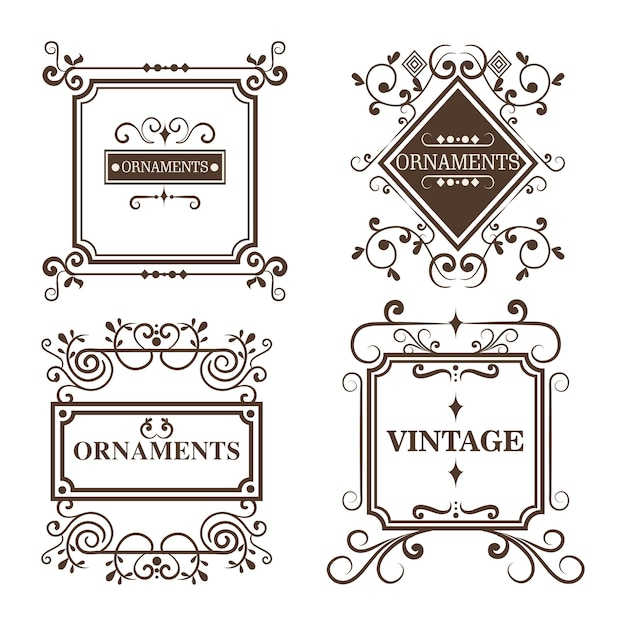 Set of ornamental frames Premium Vector