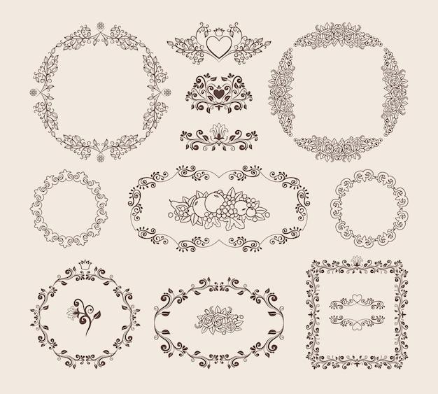 Set di cornici circolari ovali e quadrate di vettore ornamentale Vettore gratuito
