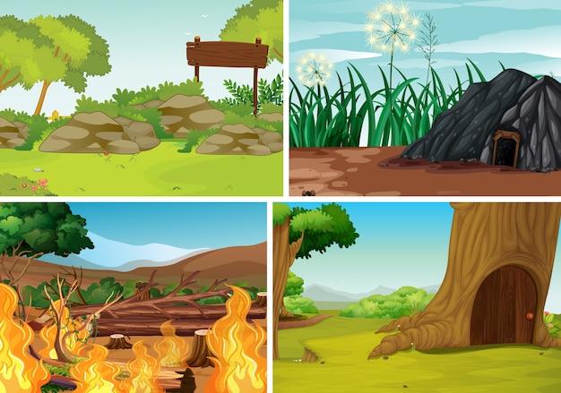 Set di sfondo natura all'aperto Vettore gratuito