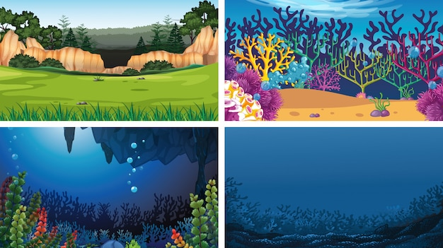 Set of outdoor nature scenes background blank empty templates Free Vector