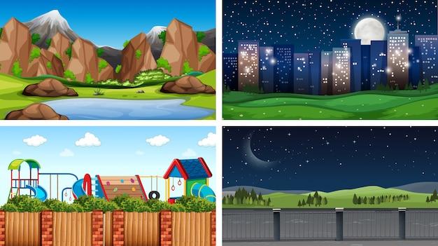 Set of outdoor nature scenes background Free Vector