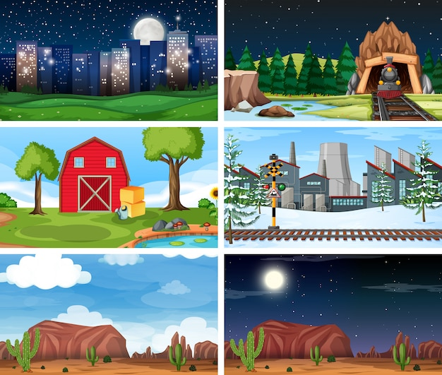 Set of outdoor nature scenes or background Free Vector
