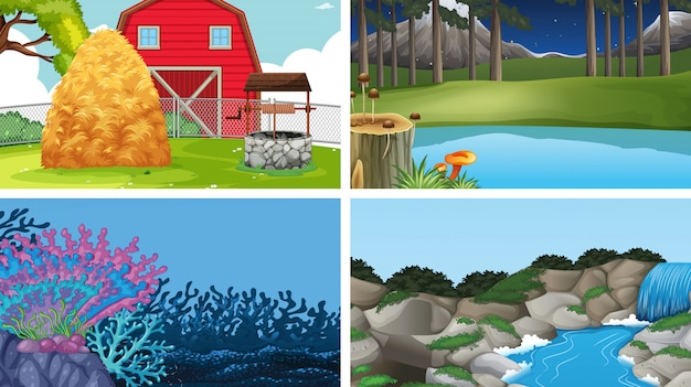 Set of outdoor nature scenes blank empty templates Free Vector