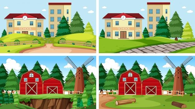 Set of outdoor nature scenes blank empty templates Free Vector