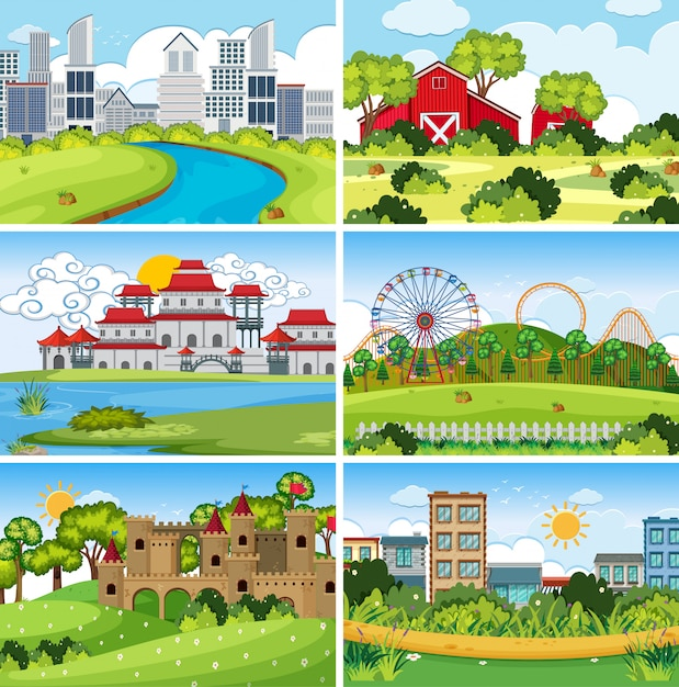 A set of outdoor scene including building Premium Vector