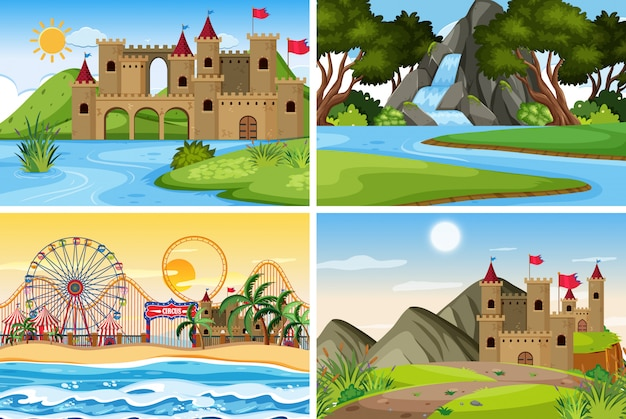 A set of outdoor scene including castle Premium Vector