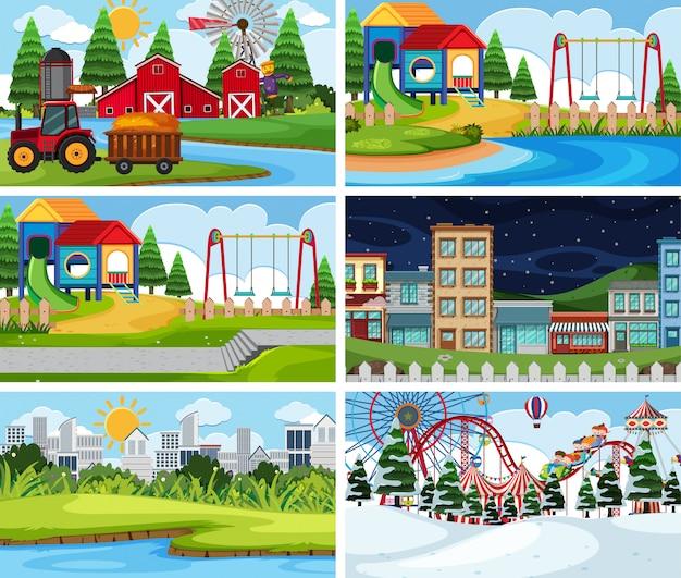 A set of outdoor scene including farm Premium Vector