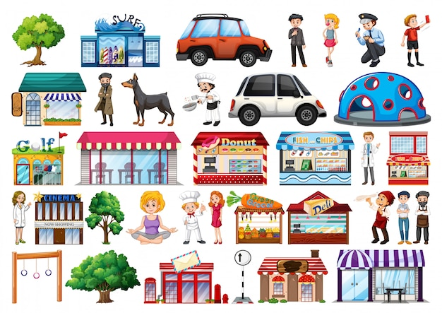 Set of outdoot objects and buildings, transport Free Vector
