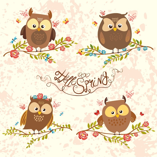 Set of owls Free Vector