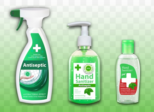 Set of packages of antiseptic for hands and surfaces on transparent background. spray dispenser and bottles. sanitizer ads in containers with leaves elements. Premium Vector