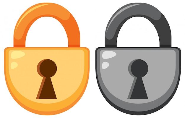 Set of padlock on cartoon style Free Vector