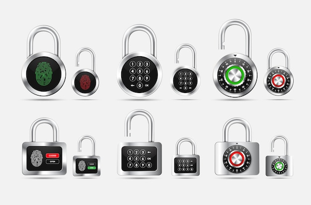 Set padlock round and square, closed and open with different types of protection in the form of a combination lock, pin code and fingerprint on the black dial Premium Vector