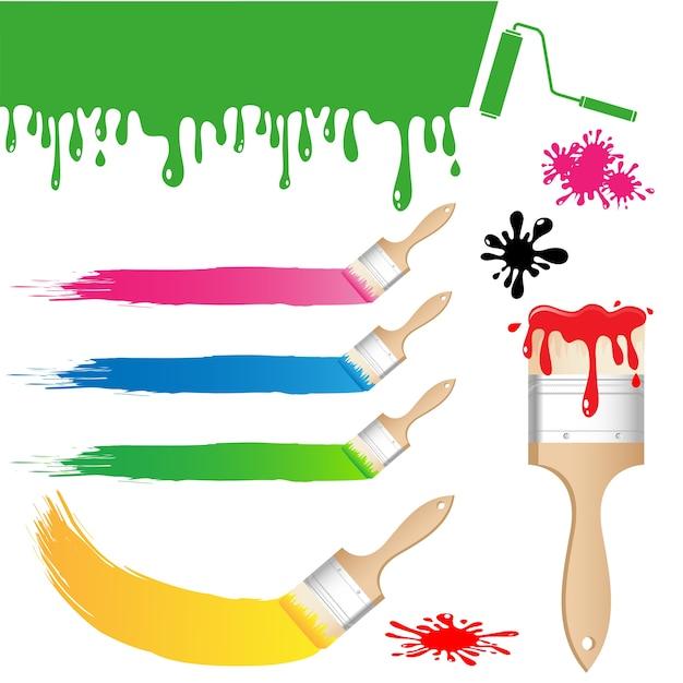 Set of paint brush vector Premium Vector