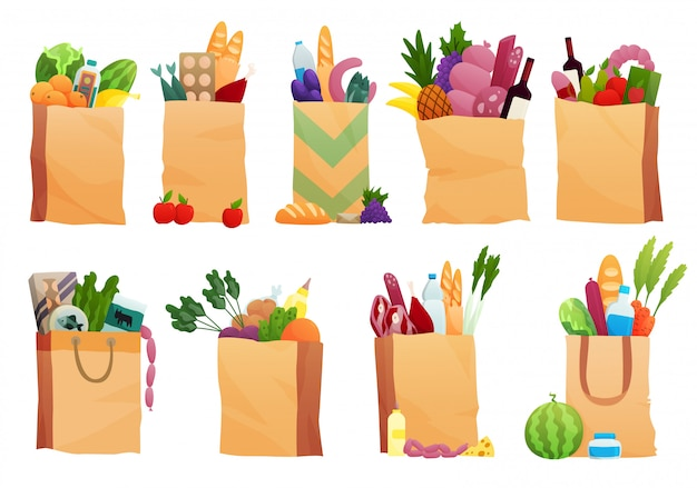 Set of paper bag with fresh food -   illustration in flat style. different food and beverage products, grocery shopping. fruits, vegetables, ham, cheese, bread, milk Premium Vector