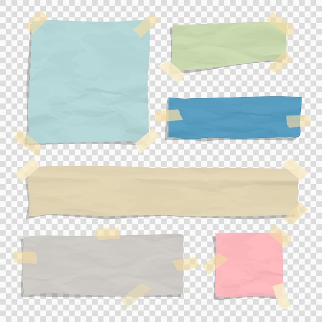 Set of paper color ripped pieces Premium Vector