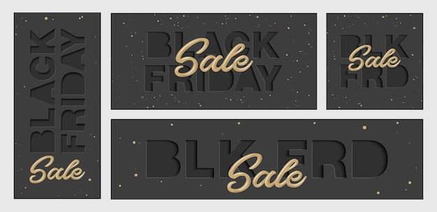 Set of paper cut with words. black friday sale. Premium Vector