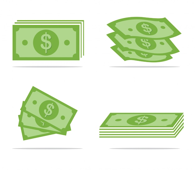 Set of paper money Premium Vector